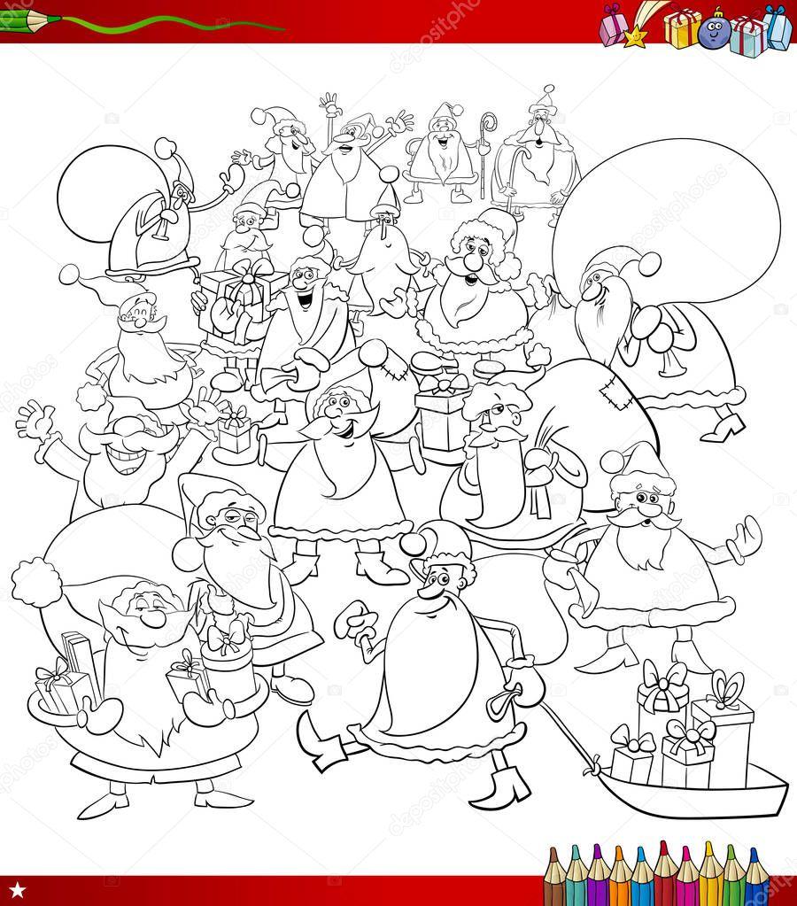 Página para colorear de Santa personajes grupo — Vector de stock ...