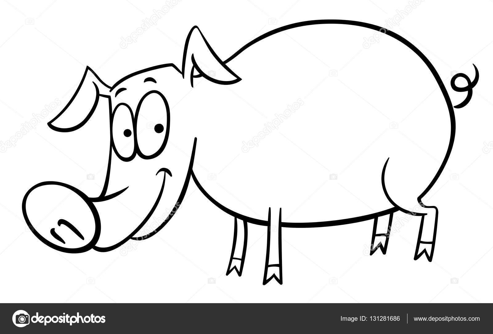 Página para colorear de dibujos animados cerdo — Archivo Imágenes ...