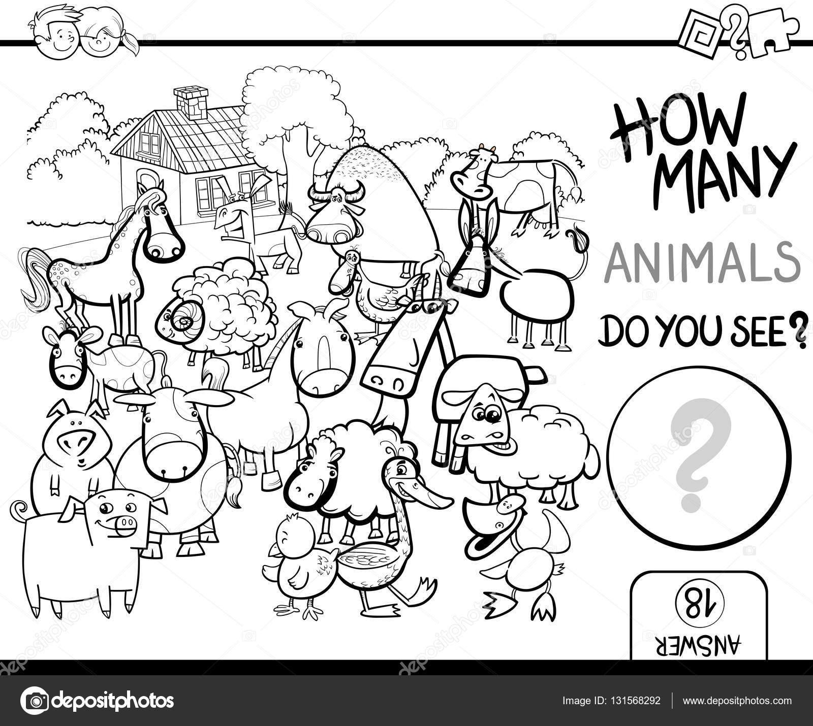 cuenta animales de granja para colorear — Archivo Imágenes ...