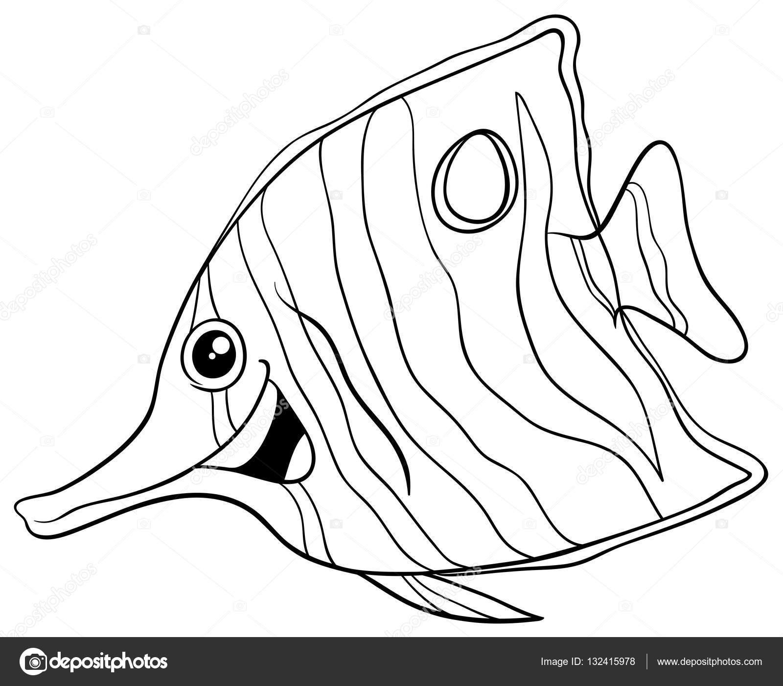 libro para colorear de peces exóticos — Archivo Imágenes Vectoriales ...