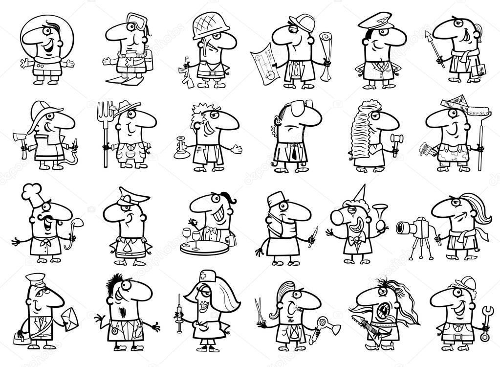 coloring pages occupations | Beroepen ingesteld kleurplaat — Stockvector © izakowski ...