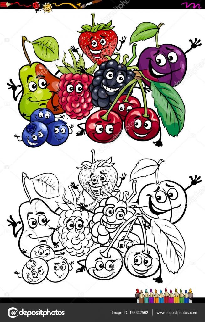 frutas divertidos libro para colorear — Archivo Imágenes Vectoriales ...