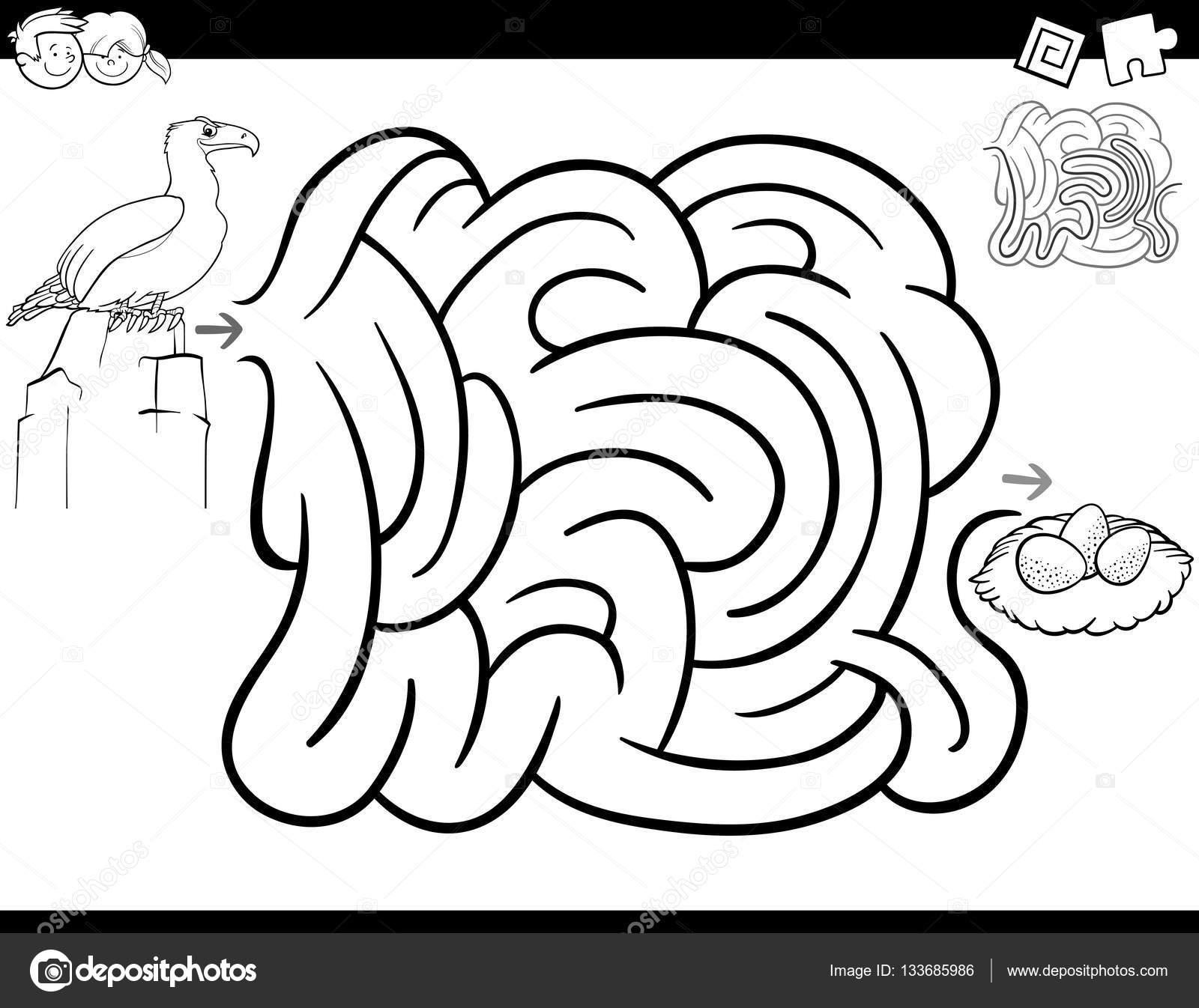 Pagina Da Colorare Gioco Labirinto Vettoriali Stock Izakowski