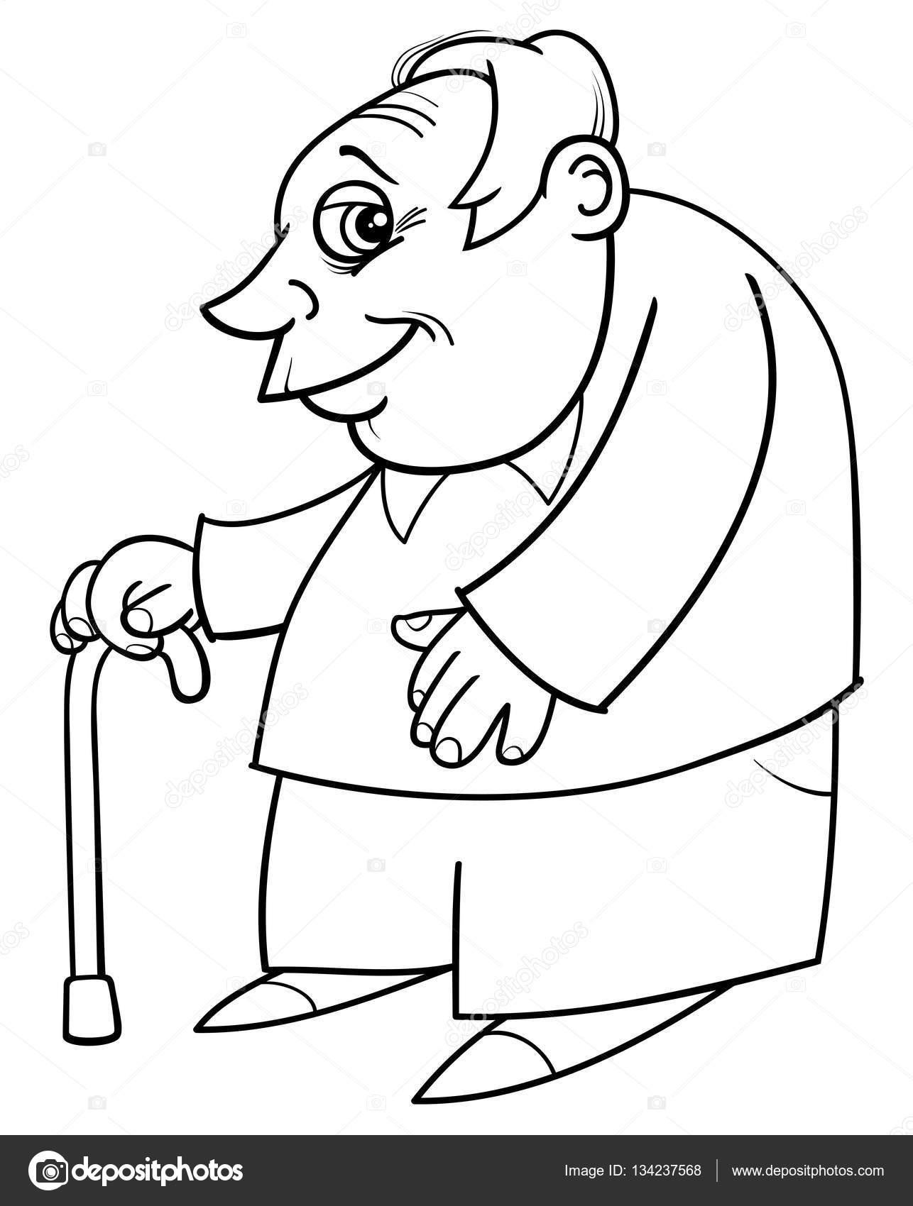 Senior con caña para colorear — Archivo Imágenes Vectoriales ...