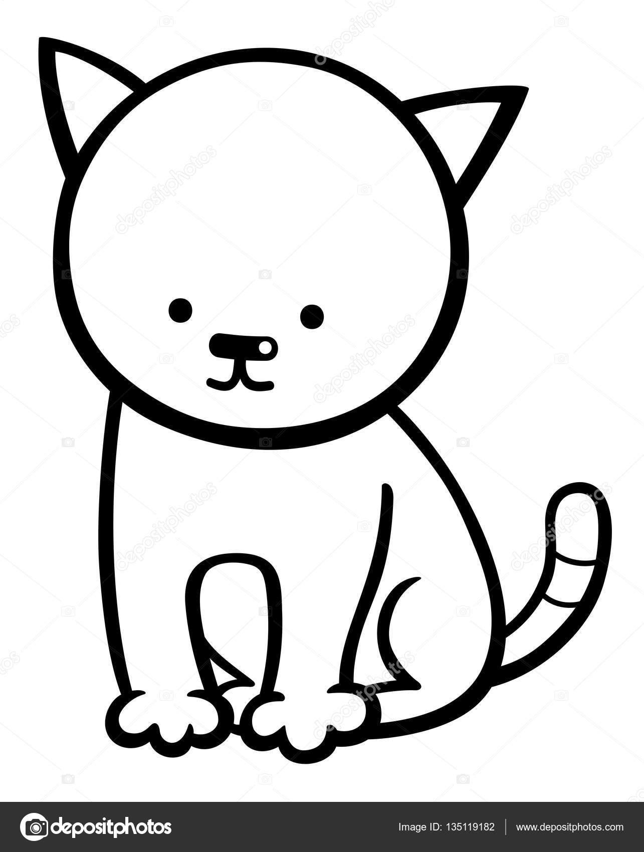 Página para colorear personaje de gatito — Archivo Imágenes ...