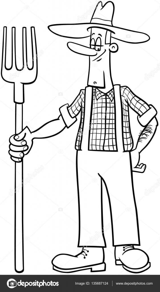 çiftçi çizgi Film Boyama Sayfası Stok Vektör Izakowski 135687124