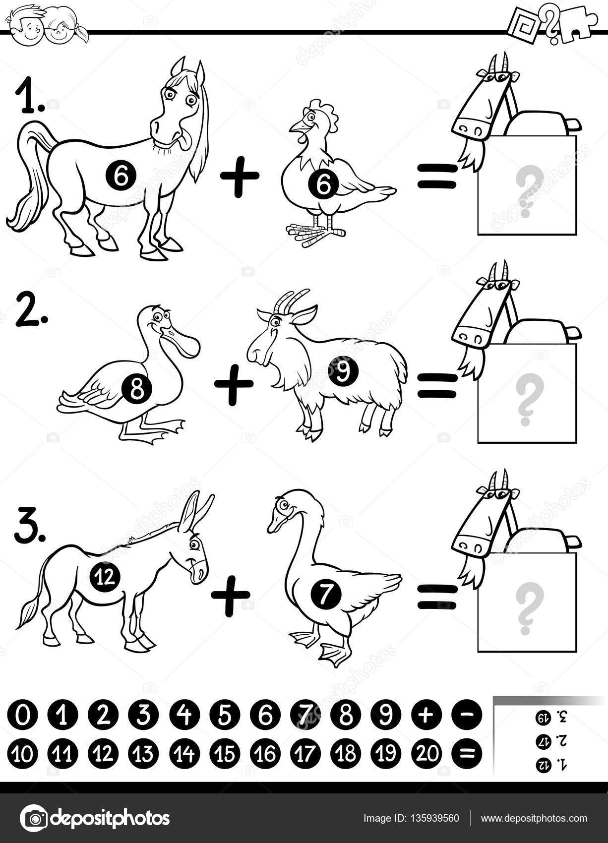 Imágenes Matematicas Para Niños Blanco Y Negro Página De