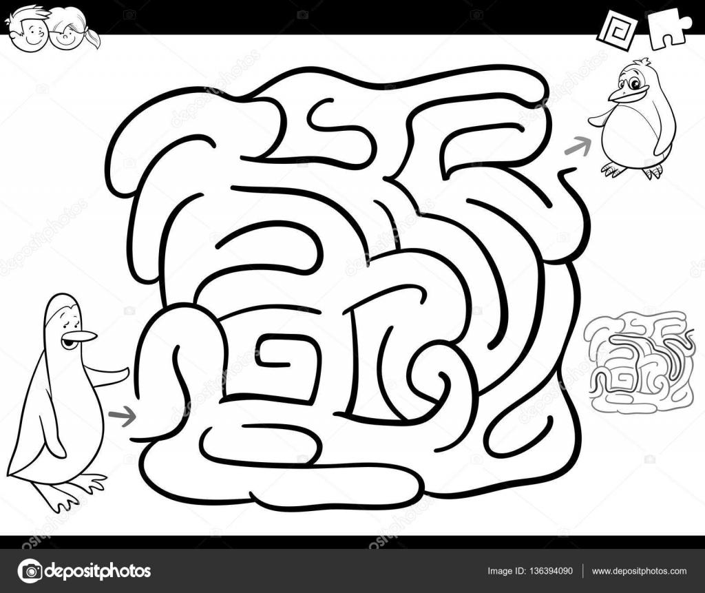 Página para colorear juego de laberinto — Vector de stock ...