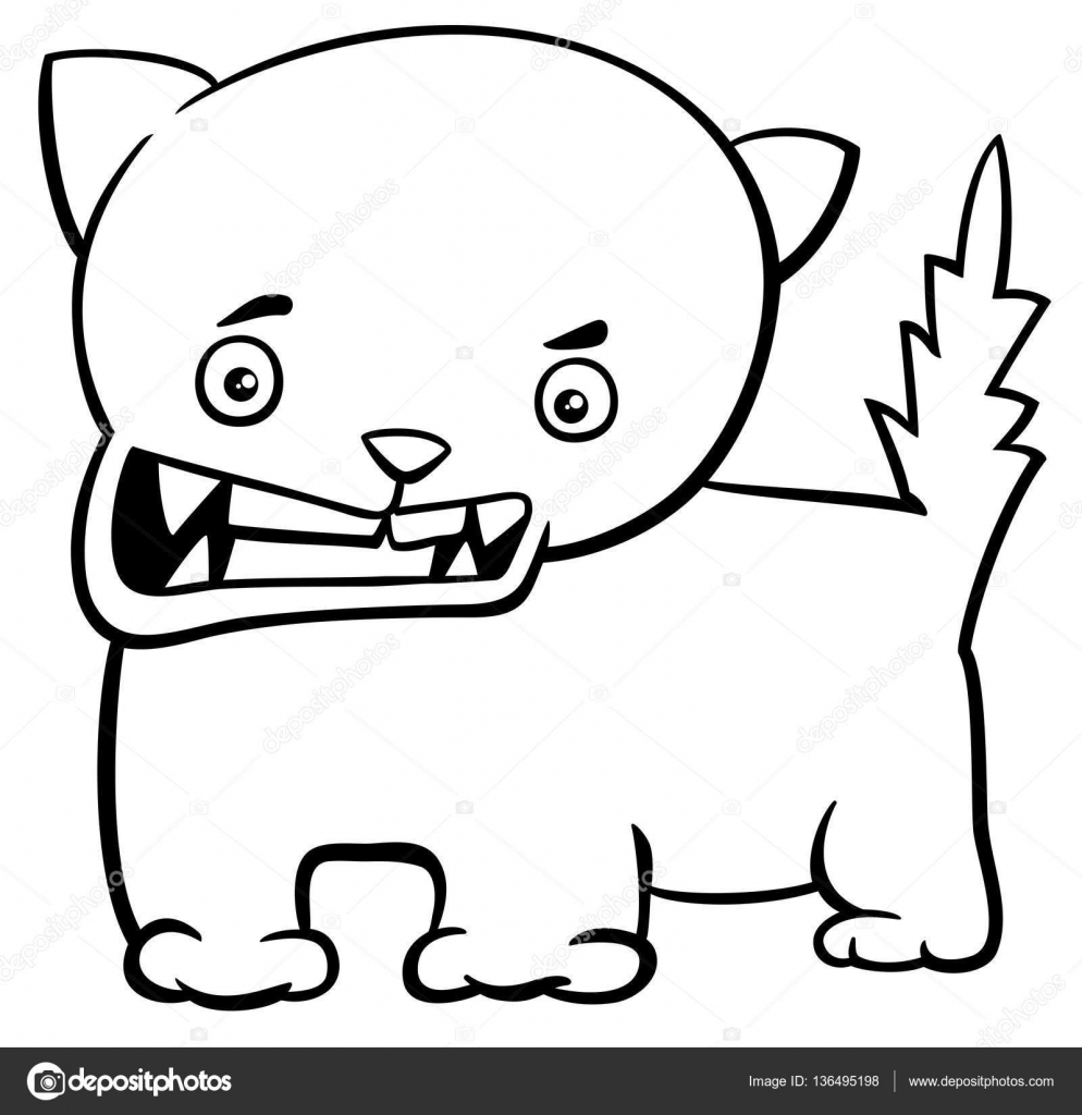 angry kitten coloring page — Stock Vector © izakowski