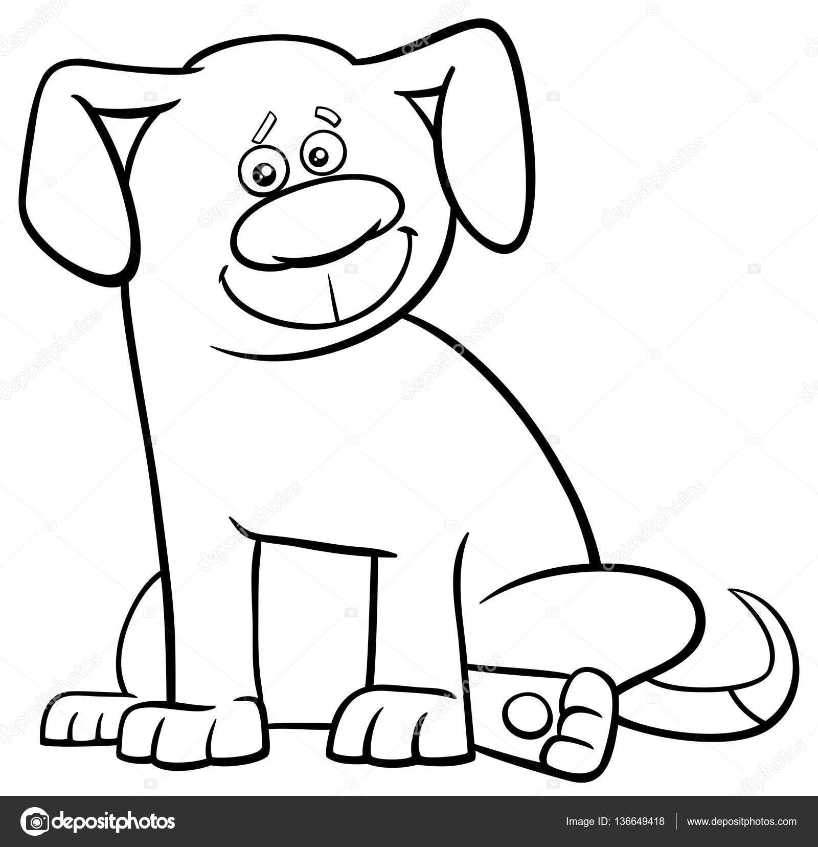 Página para colorear de perro carácter — Archivo Imágenes ...