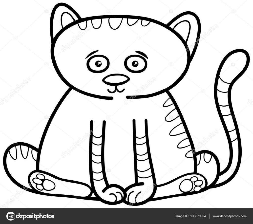 cat or kitten coloring page — Stock Vector © izakowski #136879004