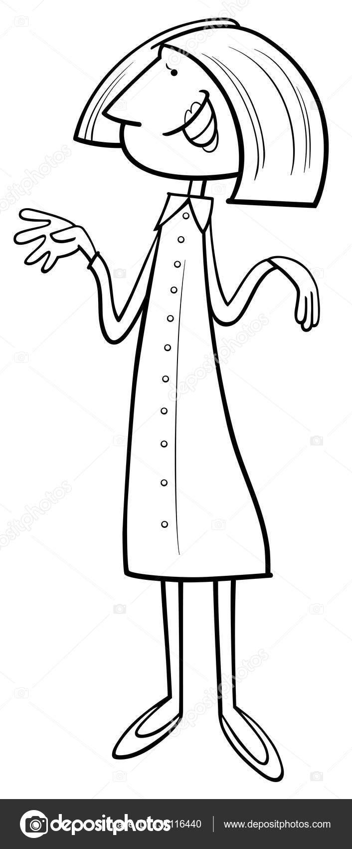çizgi Film Kadın Boyama Sayfası Stok Vektör Izakowski 137116440