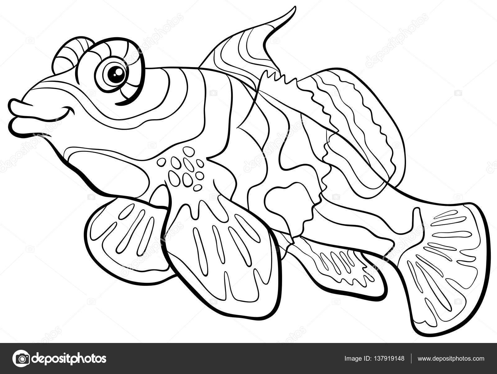 Página para colorear de peces mandarín — Vector de stock © izakowski ...