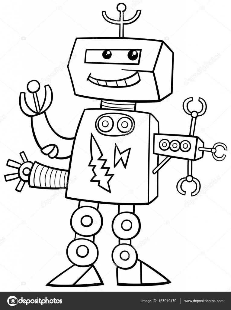 Cartoon Robot Coloring Page Stock Vector C Izakowski 137919170