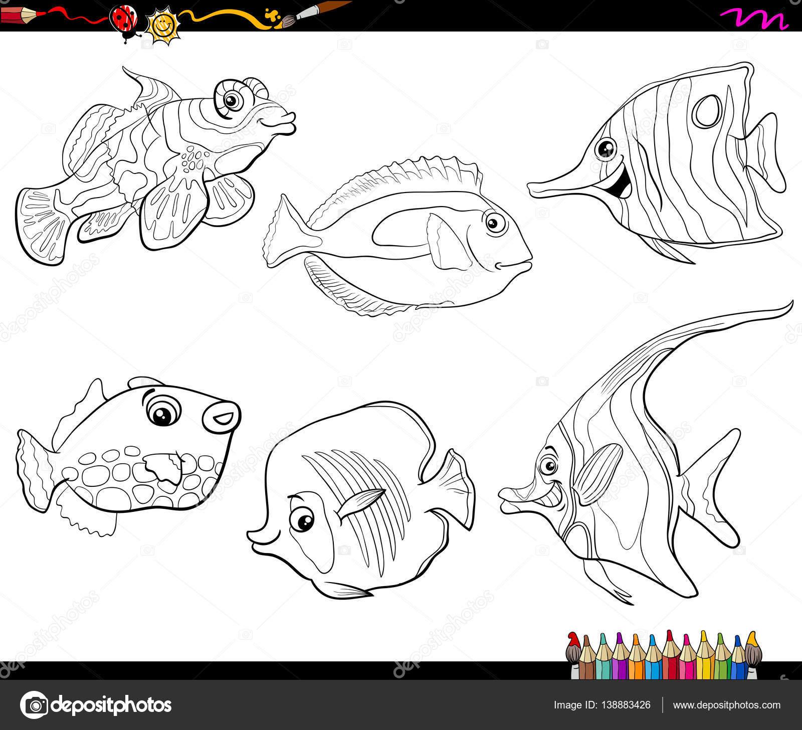 Jeu de poisson dessin animé Coloriage — Image vectorielle