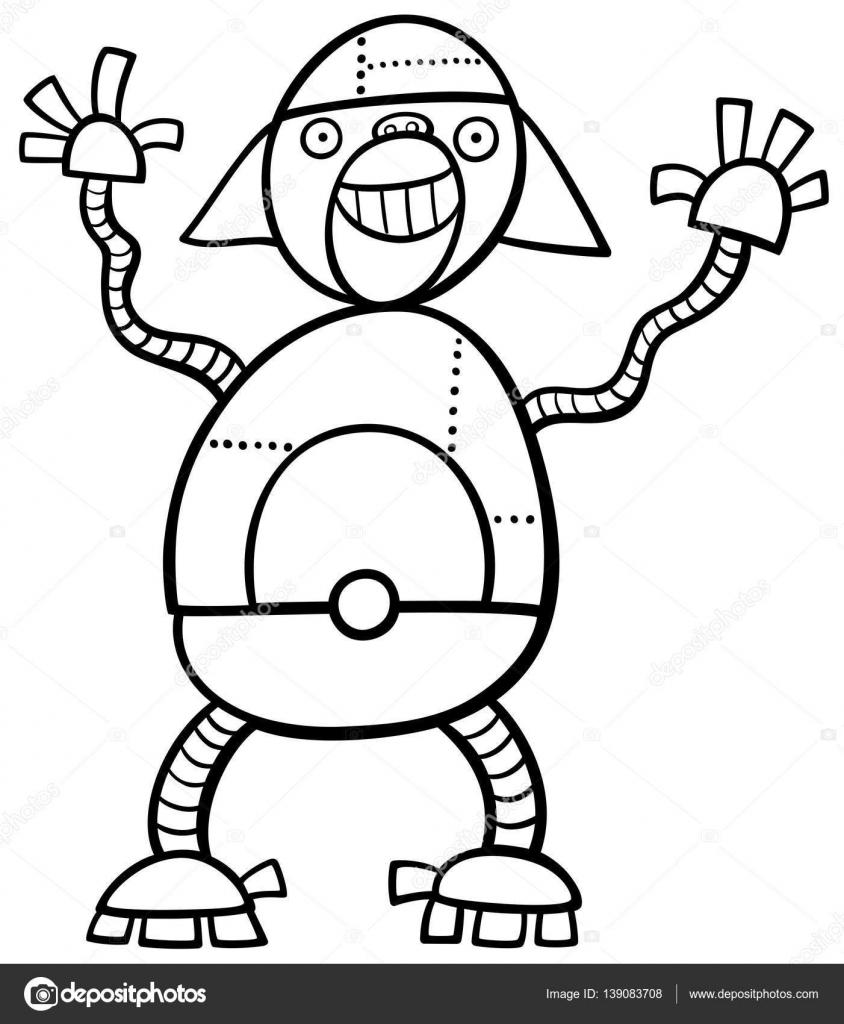 Maymun Robot Boyama Sayfası Stok Vektör Izakowski 139083708