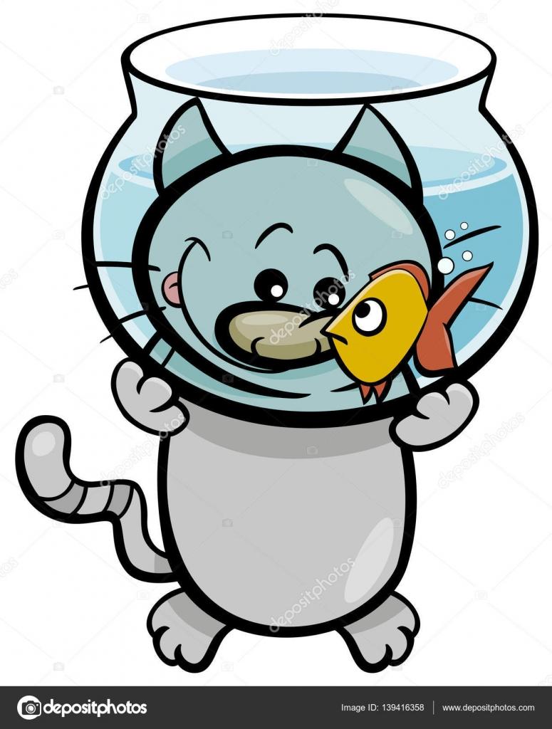 dibujos animados gato y pescado — Vector de stock © izakowski #139416358