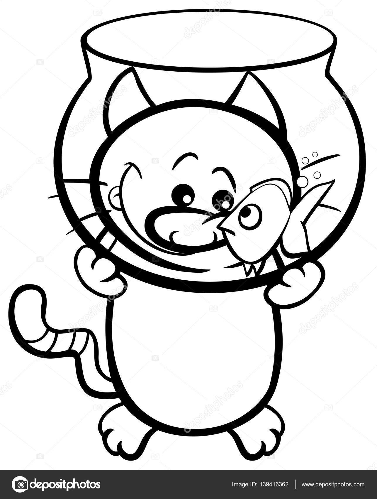 gato y pez para colorear página — Vector de stock © izakowski #139416362
