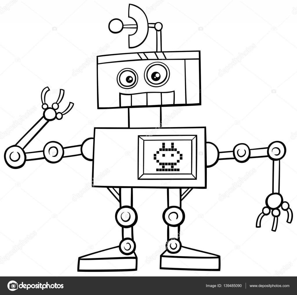 Robot Karakter Boyama Sayfası Stok Vektör Izakowski 139485090