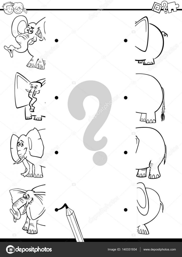 Juegos elefantes para niños   coincide con la página para colorear ...