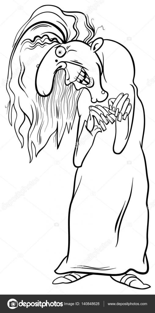 Página para colorear personaje de bruja — Archivo Imágenes ...