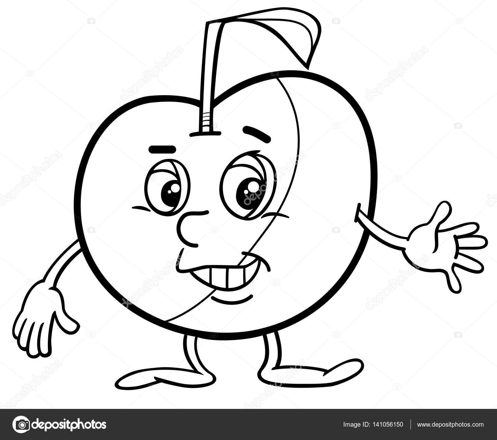 Página para colorear de manzana carácter — Archivo Imágenes ...
