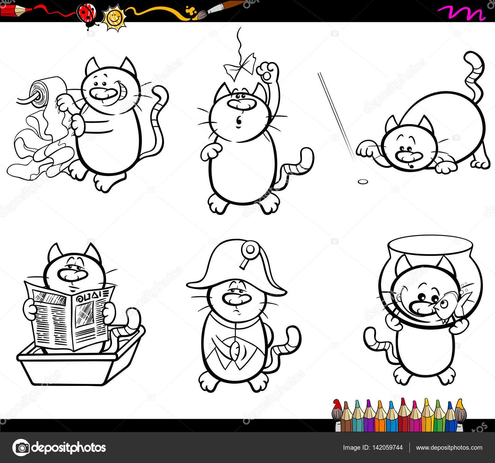 personajes de gato para colorear página — Archivo Imágenes ...