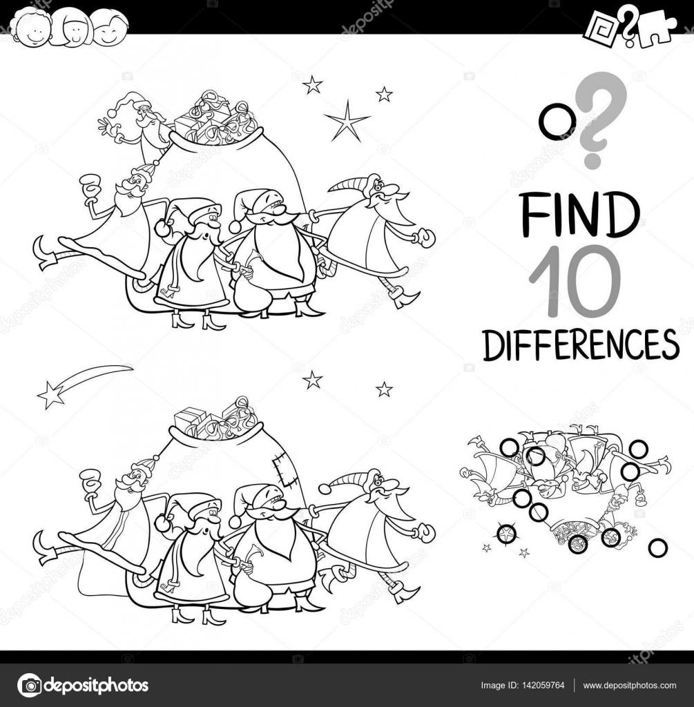diferencias de Navidad para colorear página — Archivo Imágenes ...