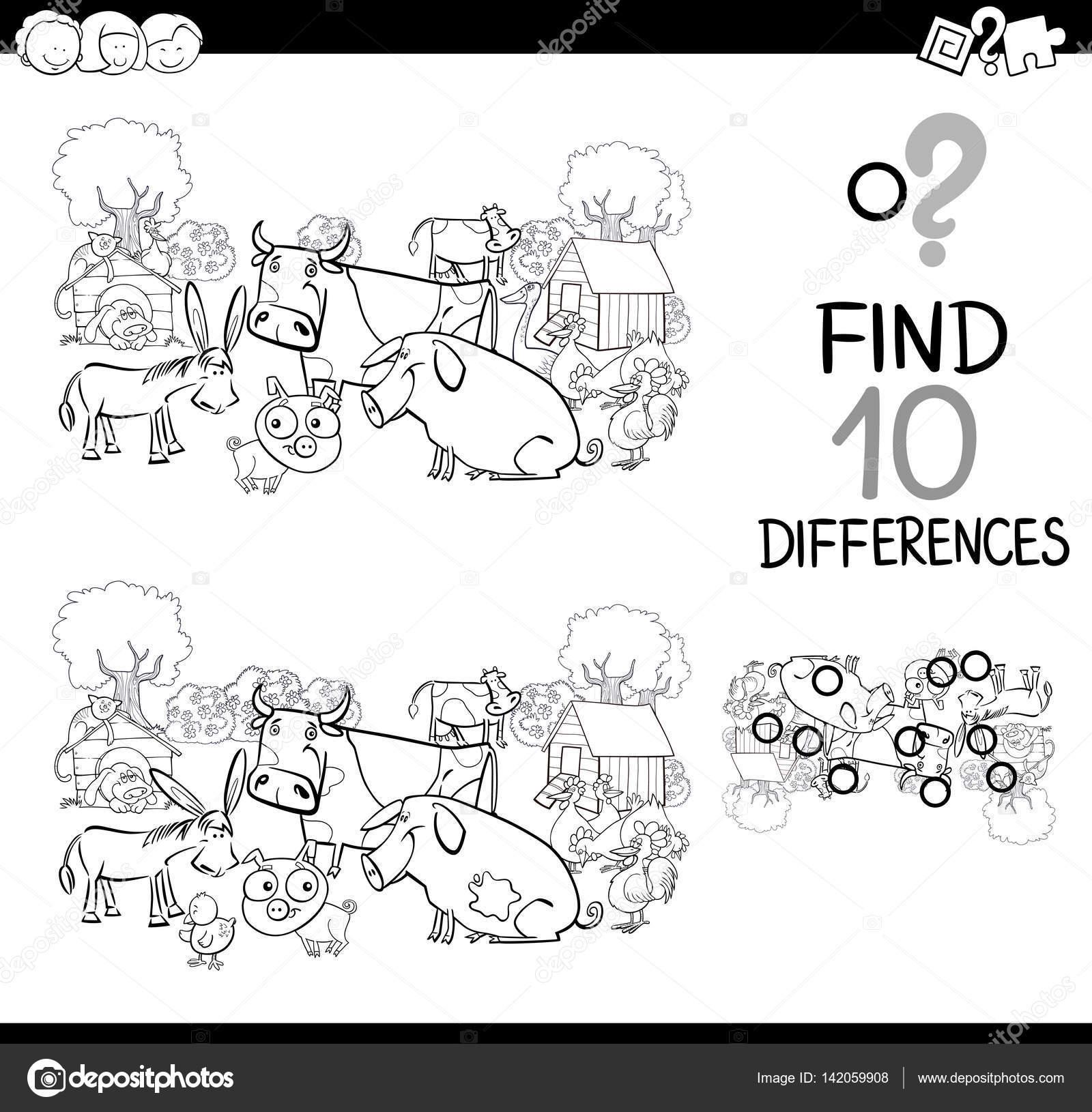 juego para colorear animales de granja — Archivo Imágenes ...