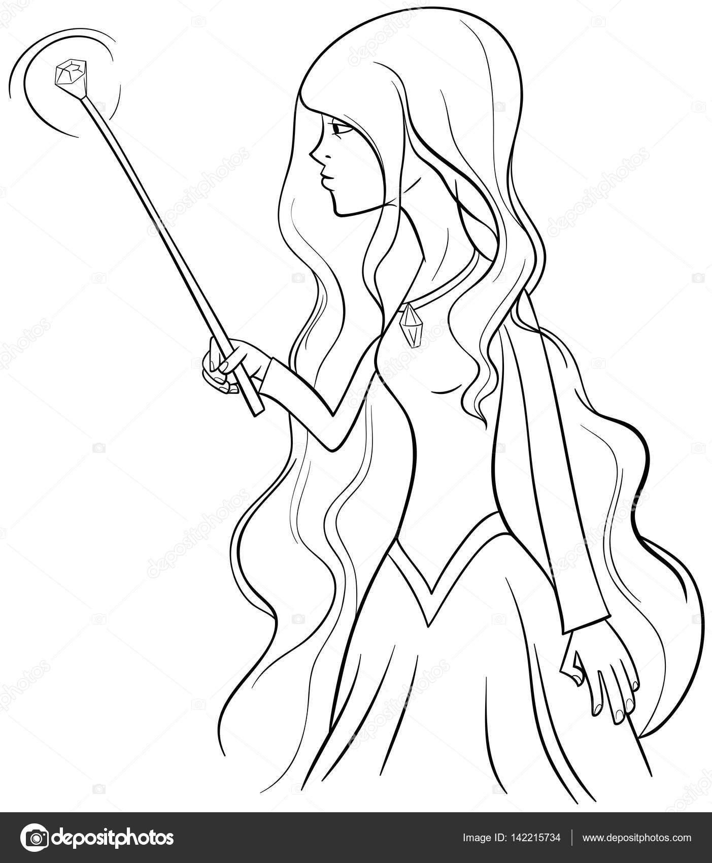 Página para colorear personaje de bruja — Vector de stock ...