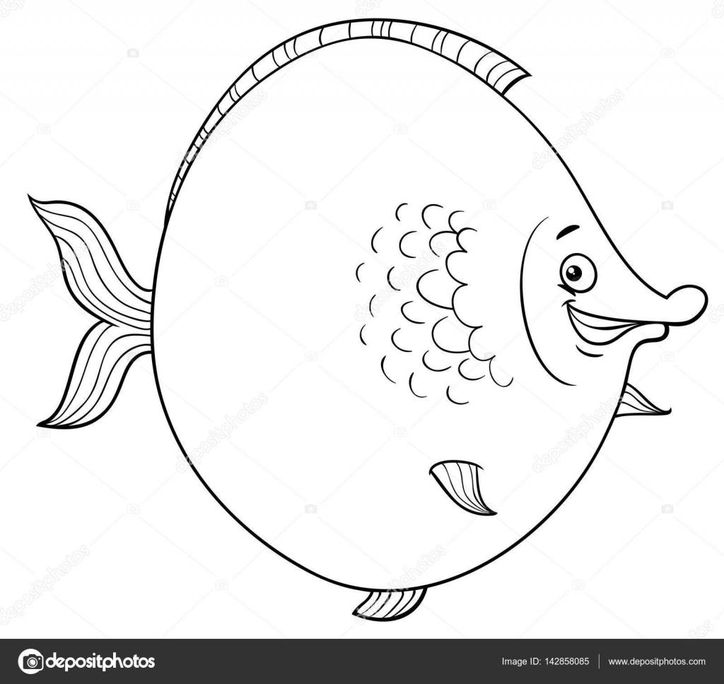 Página para colorear de dibujos animados de peces grandes — Vector ...