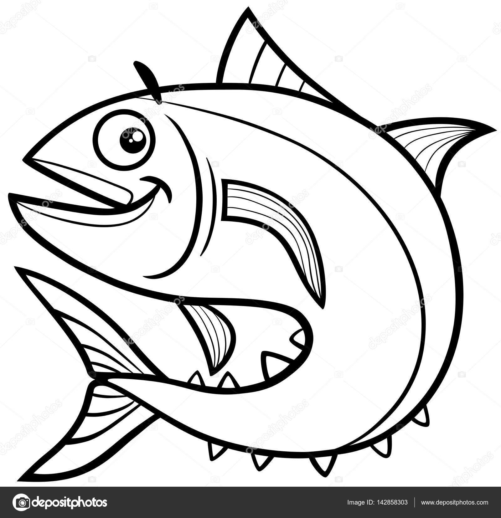 Página para colorear de atún — Archivo Imágenes Vectoriales ...