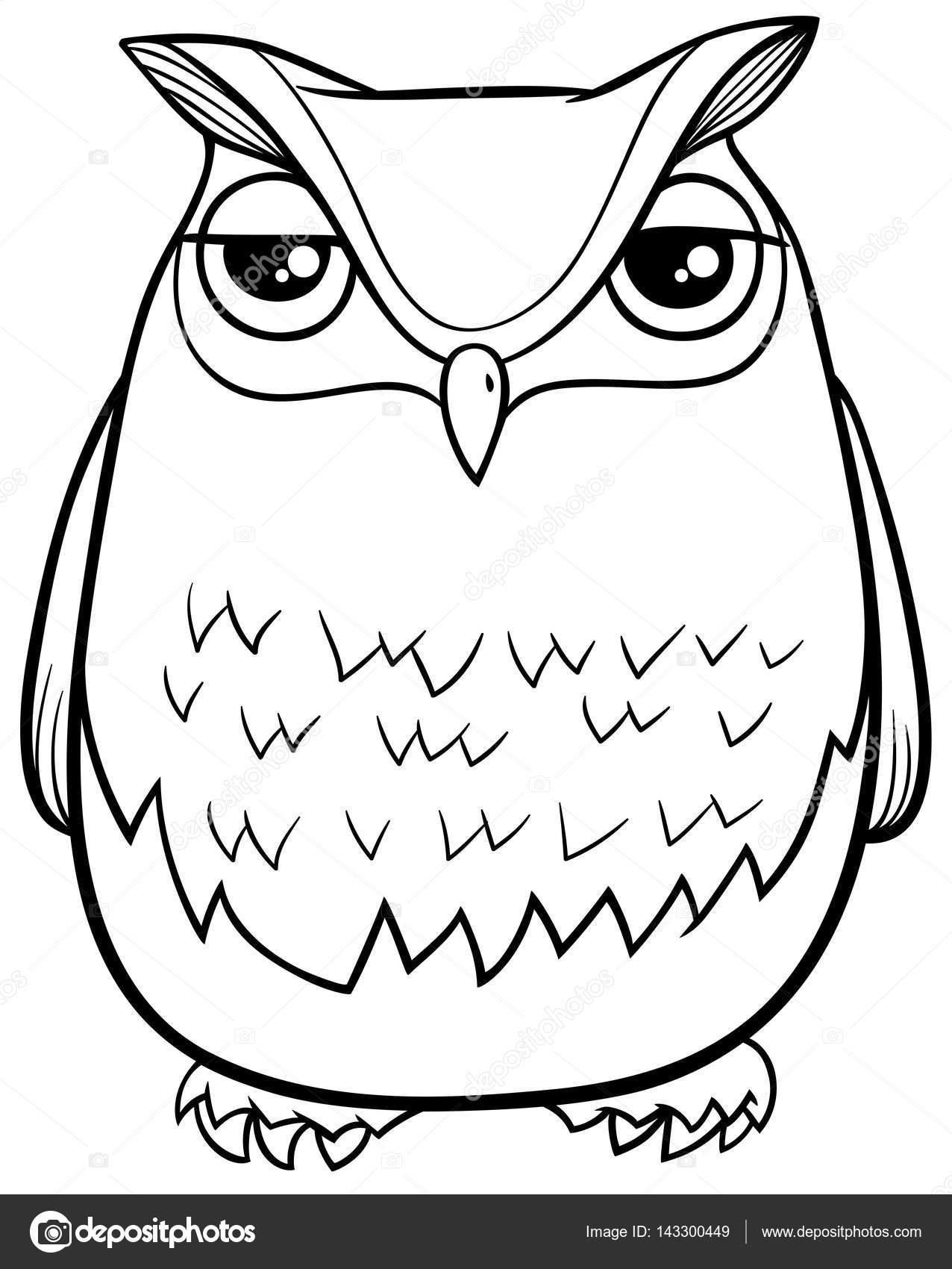 Cartoon Owl Coloring Page Stock Vector C Izakowski 143300449