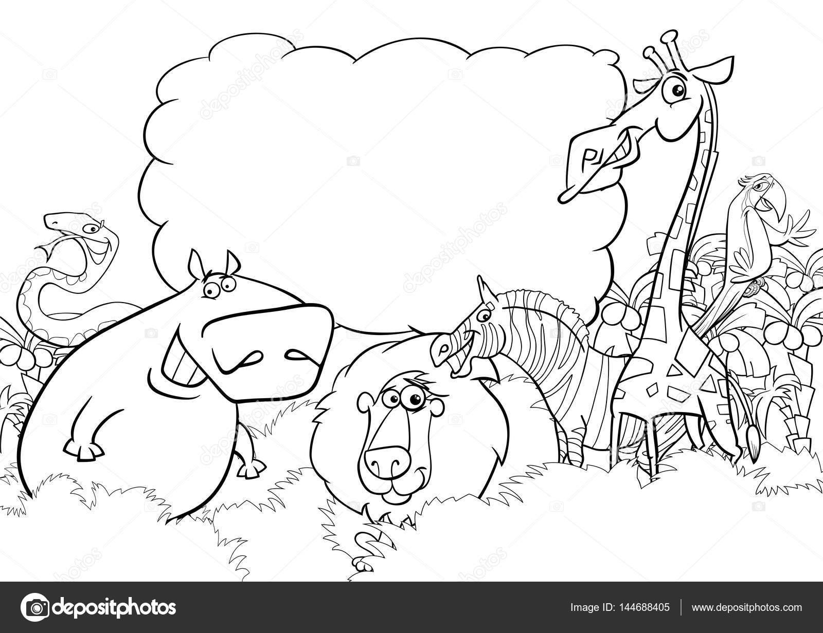 Página para colorear de animales salvajes — Vector de stock ...