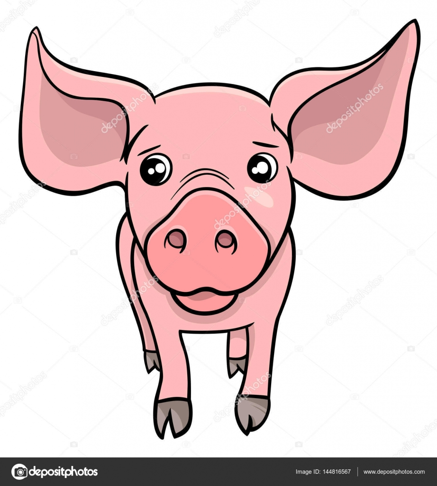 personaje de dibujos animados de cerdo o cochinillo — Archivo ...