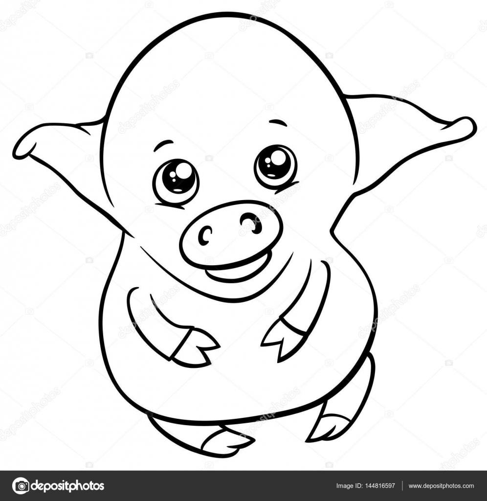 Cute Piglet Coloring Page Stock Vector C Izakowski 144816597