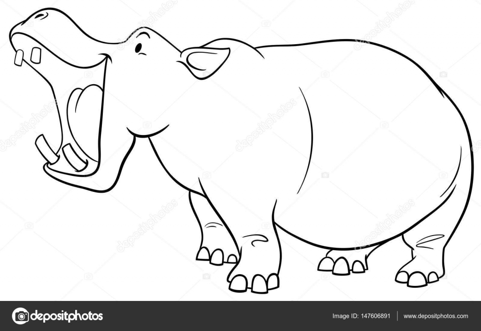 Vectorizado: hipopotamo | Página para colorear de hipopótamo ...