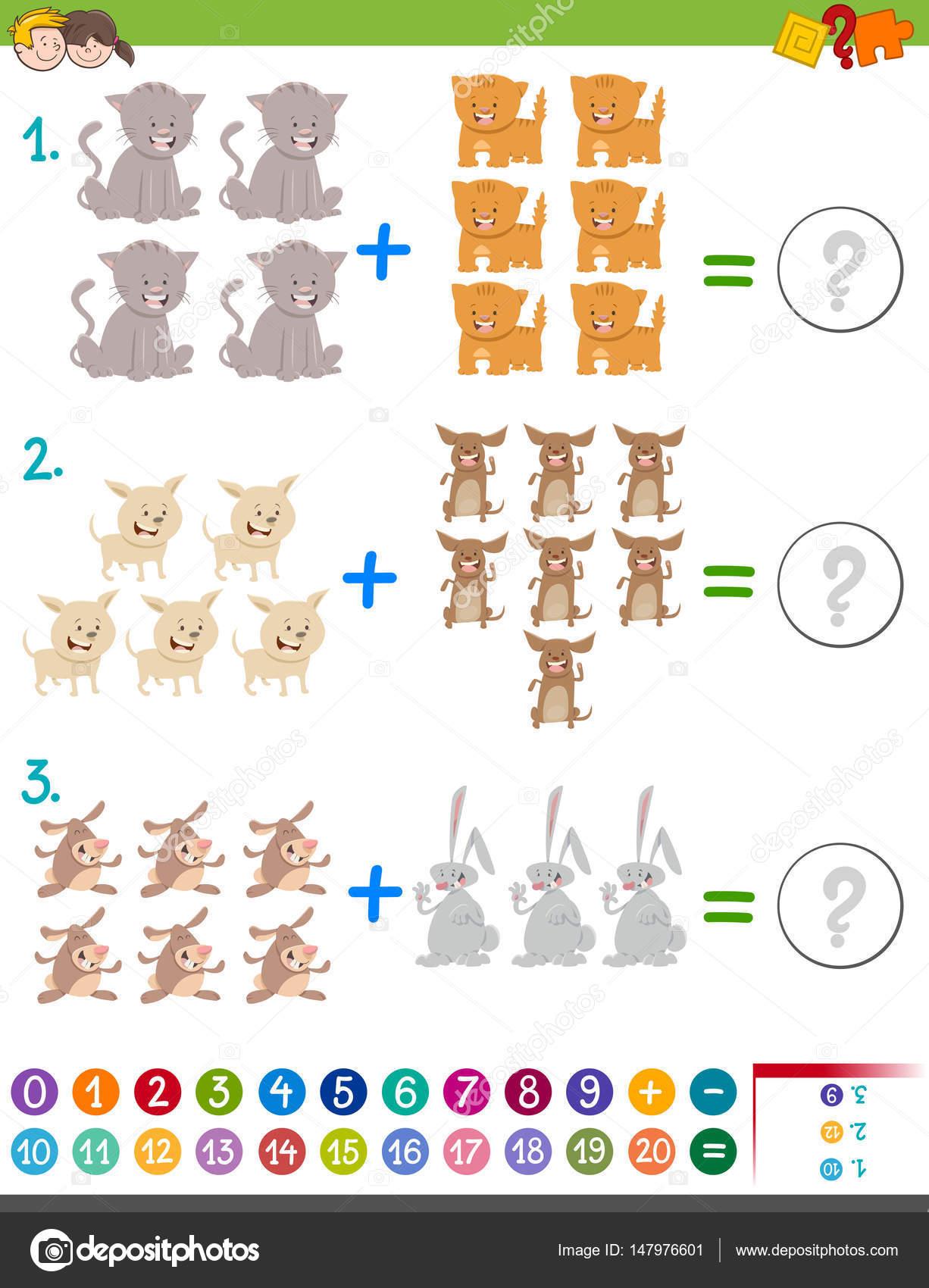 Matemáticas además juegos para los niños — Vector de stock ...
