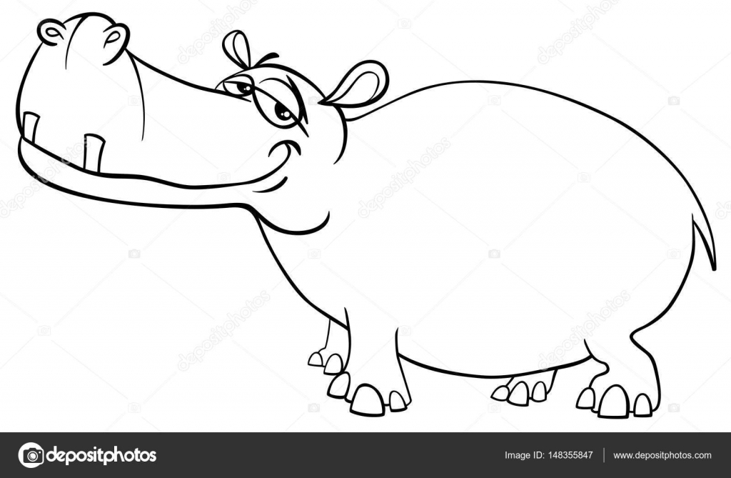 Página para colorear de hipopótamo carácter — Vector de stock ...
