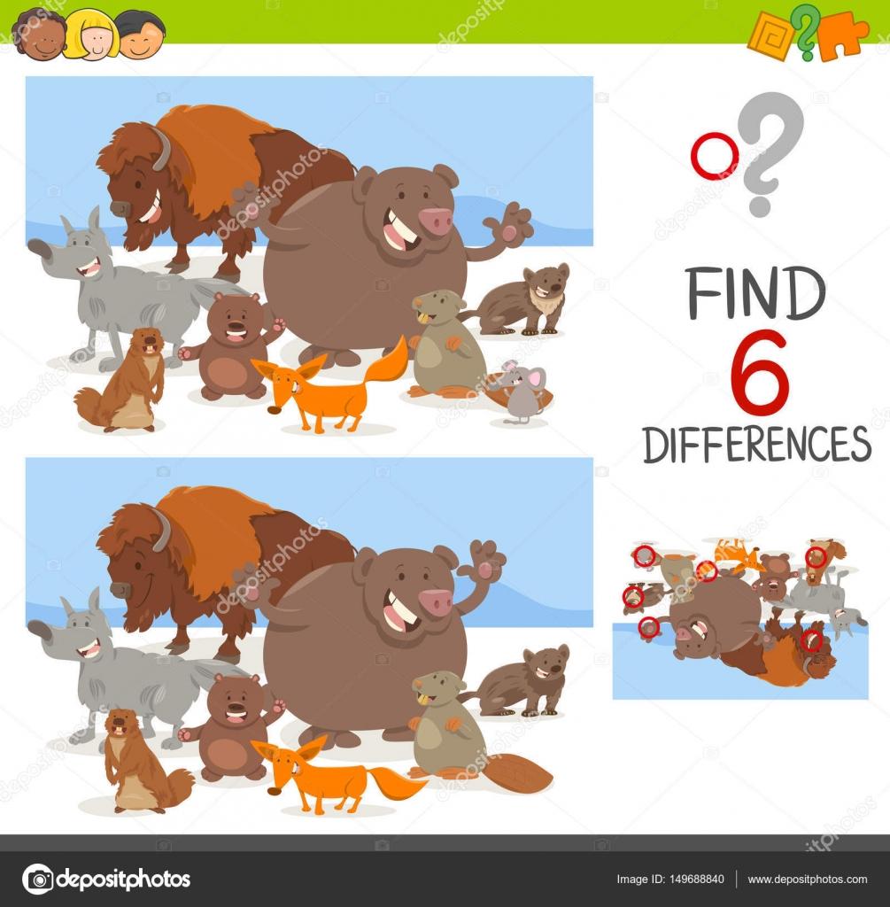 Unterschiede Spiel mit Tieren — Stockvektor © izakowski #149688840