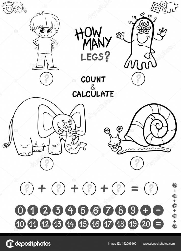 libro de colorear juego de matemáticas — Vector de stock © izakowski ...