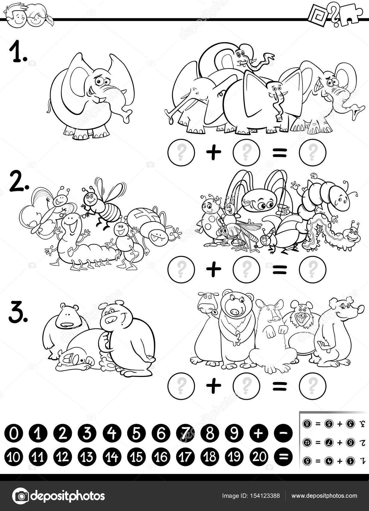 Página de matemáticas actividad para colorear — Vector de stock ...