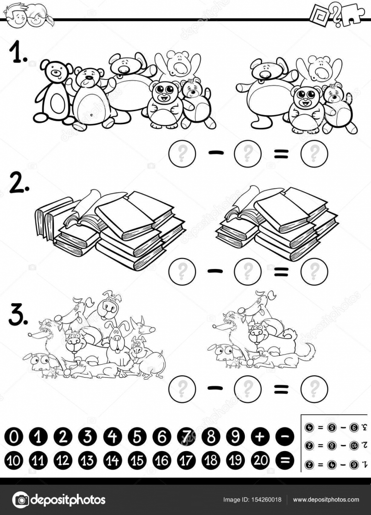 hoja de cálculo matemático para colorear — Vector de stock ...