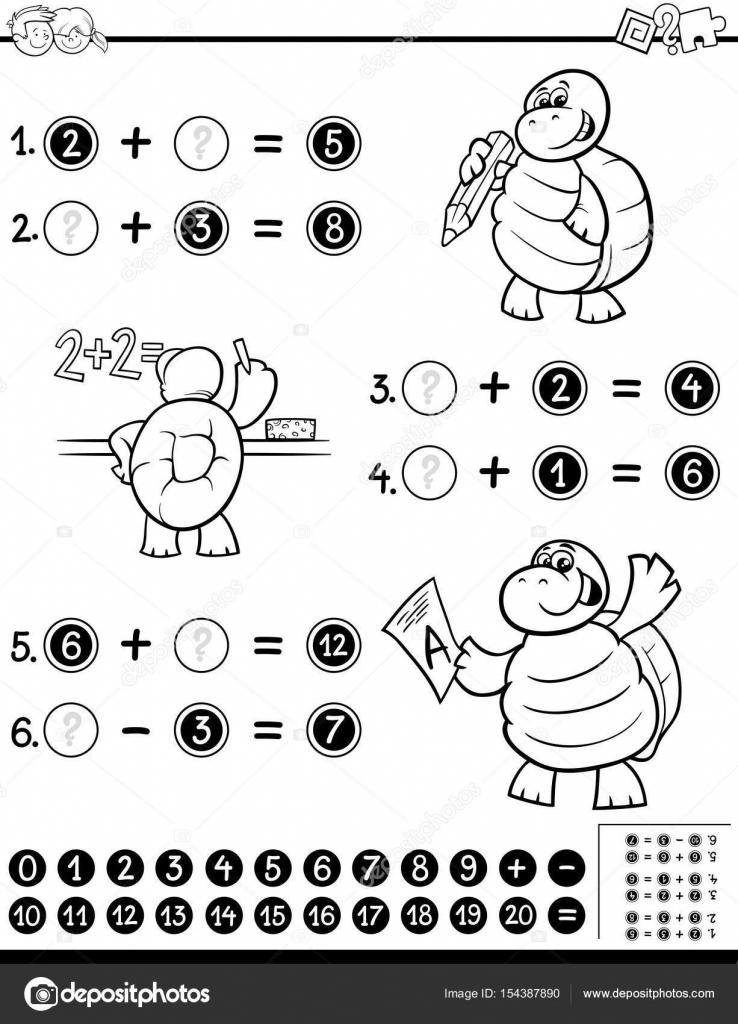 libro de colorear de hoja de cálculo matemático — Vector de stock ...