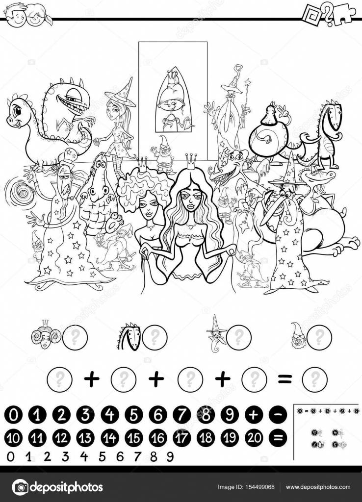 Boyama Için Matematik çalışma Sayfası Stok Vektör Izakowski