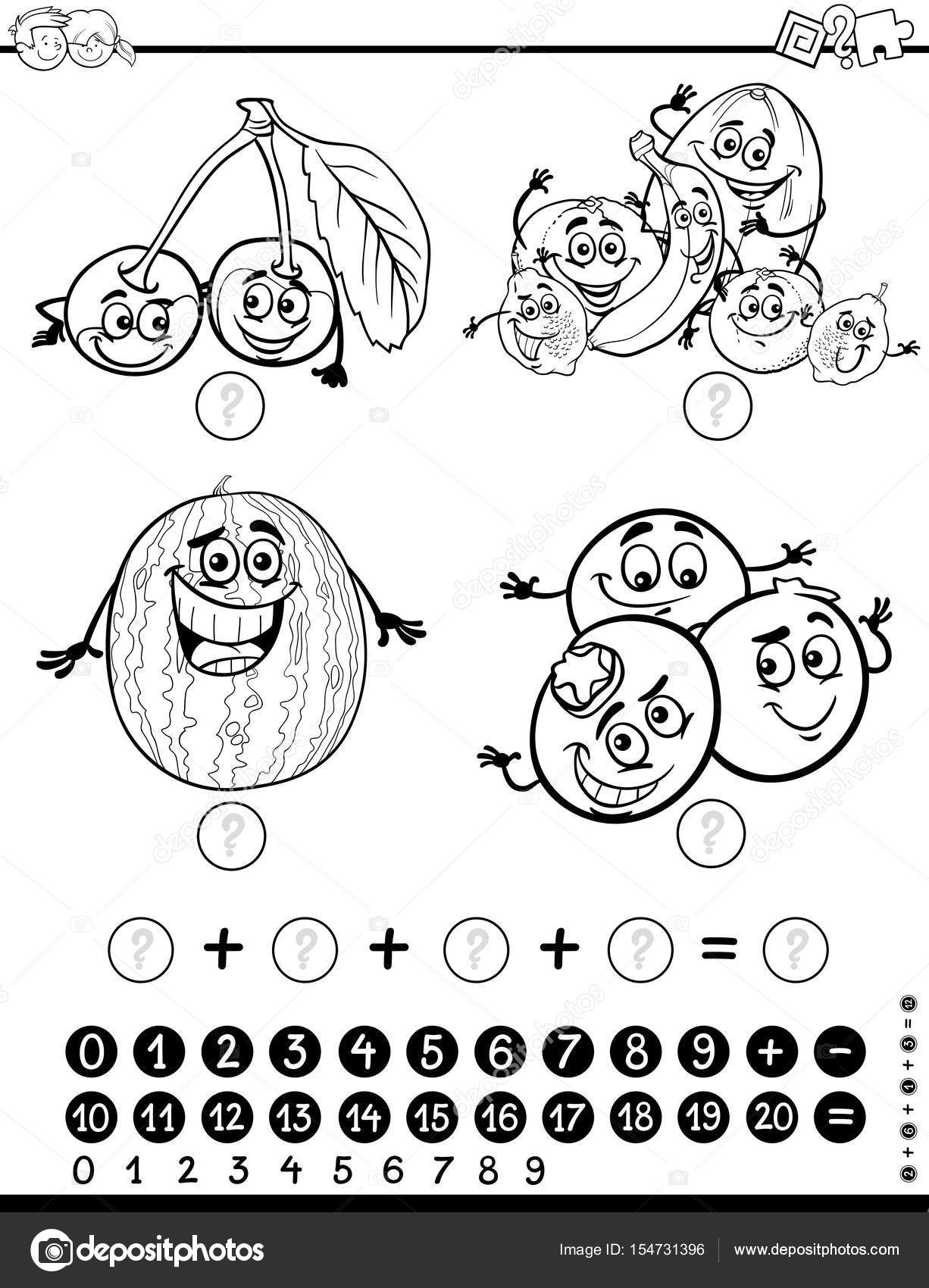 Página para colorear de actividad matemática — Vector de stock ...