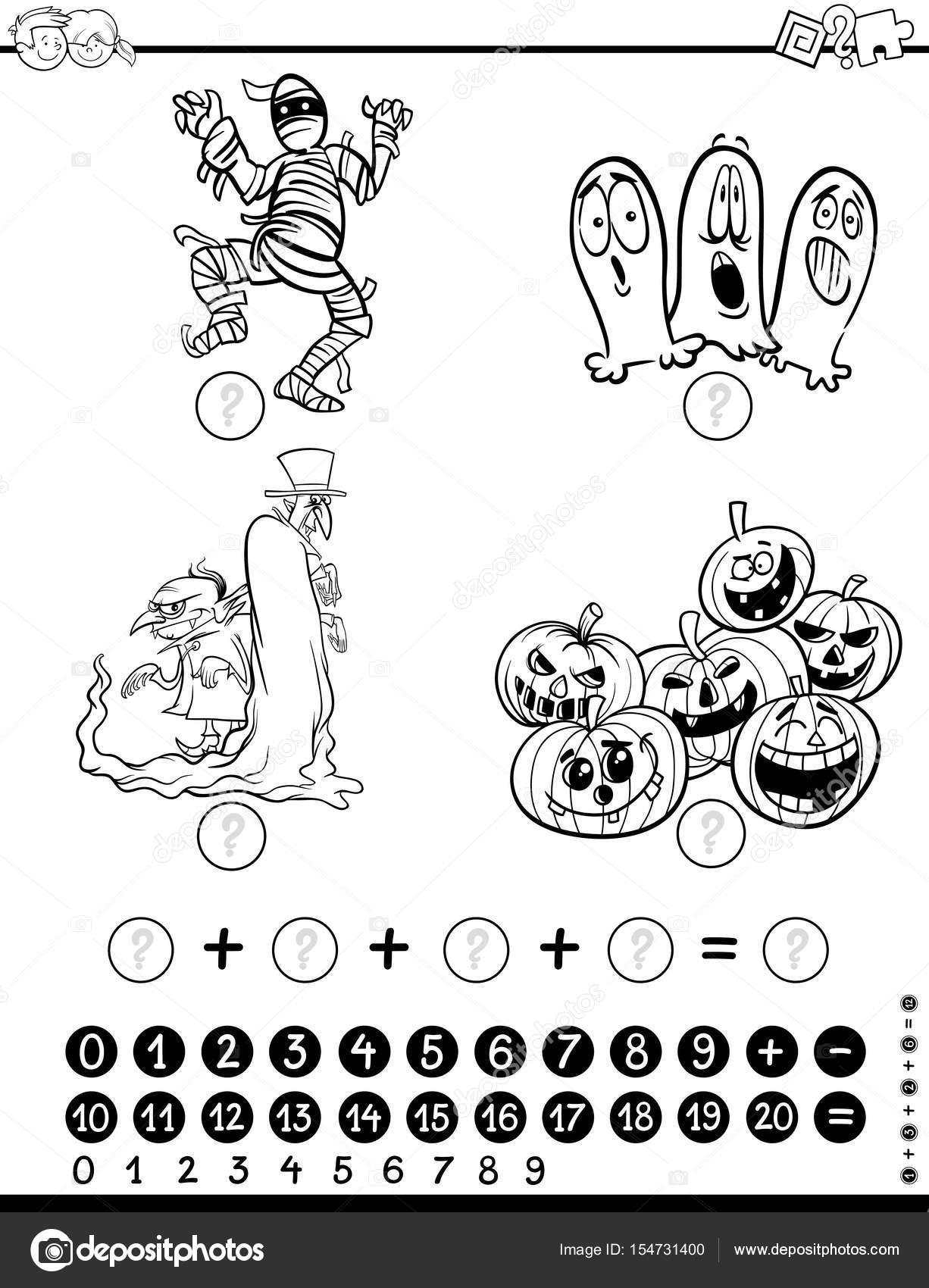 Página de matemáticas actividad para colorear — Archivo Imágenes ...