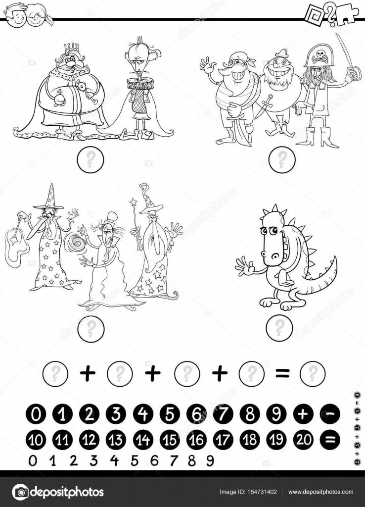 Matematik Eğitim Oyun Boyama Sayfası Stok Vektör Izakowski