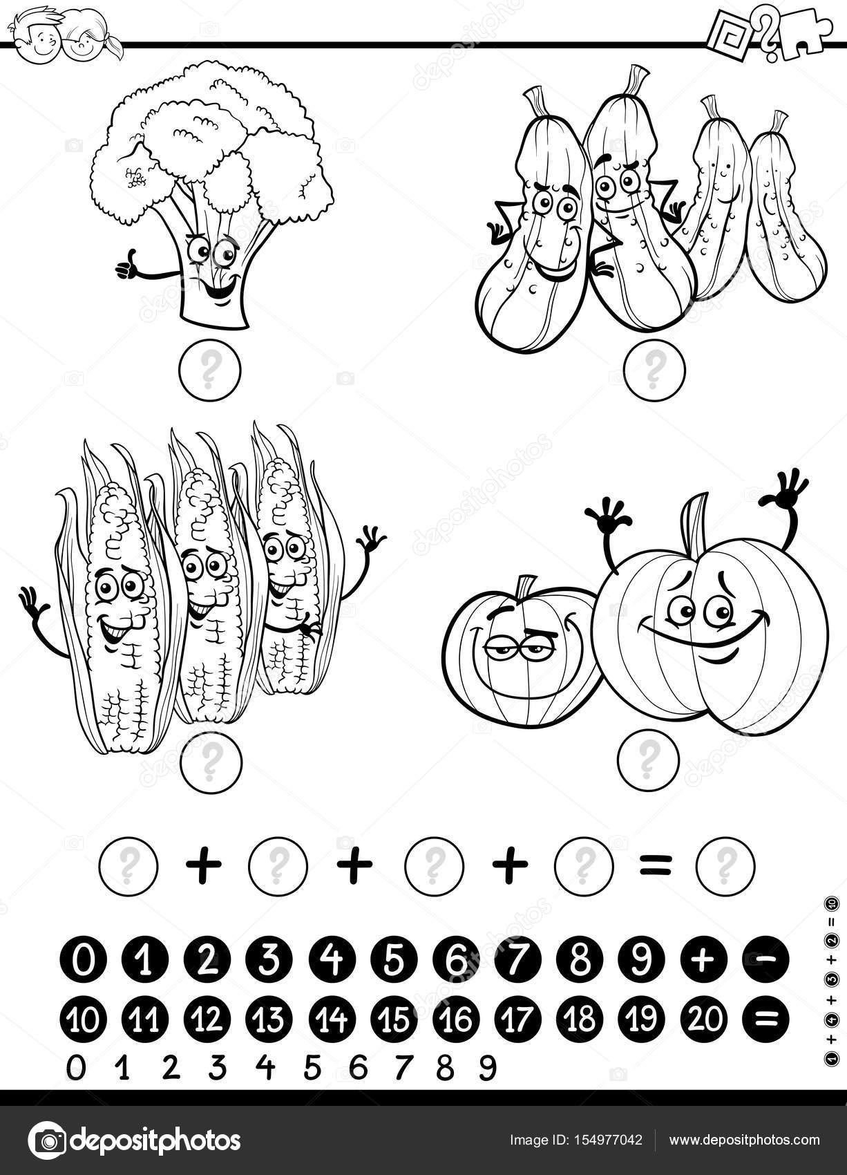 hoja de trabajo actividad de matemáticas para colorear — Vector de ...