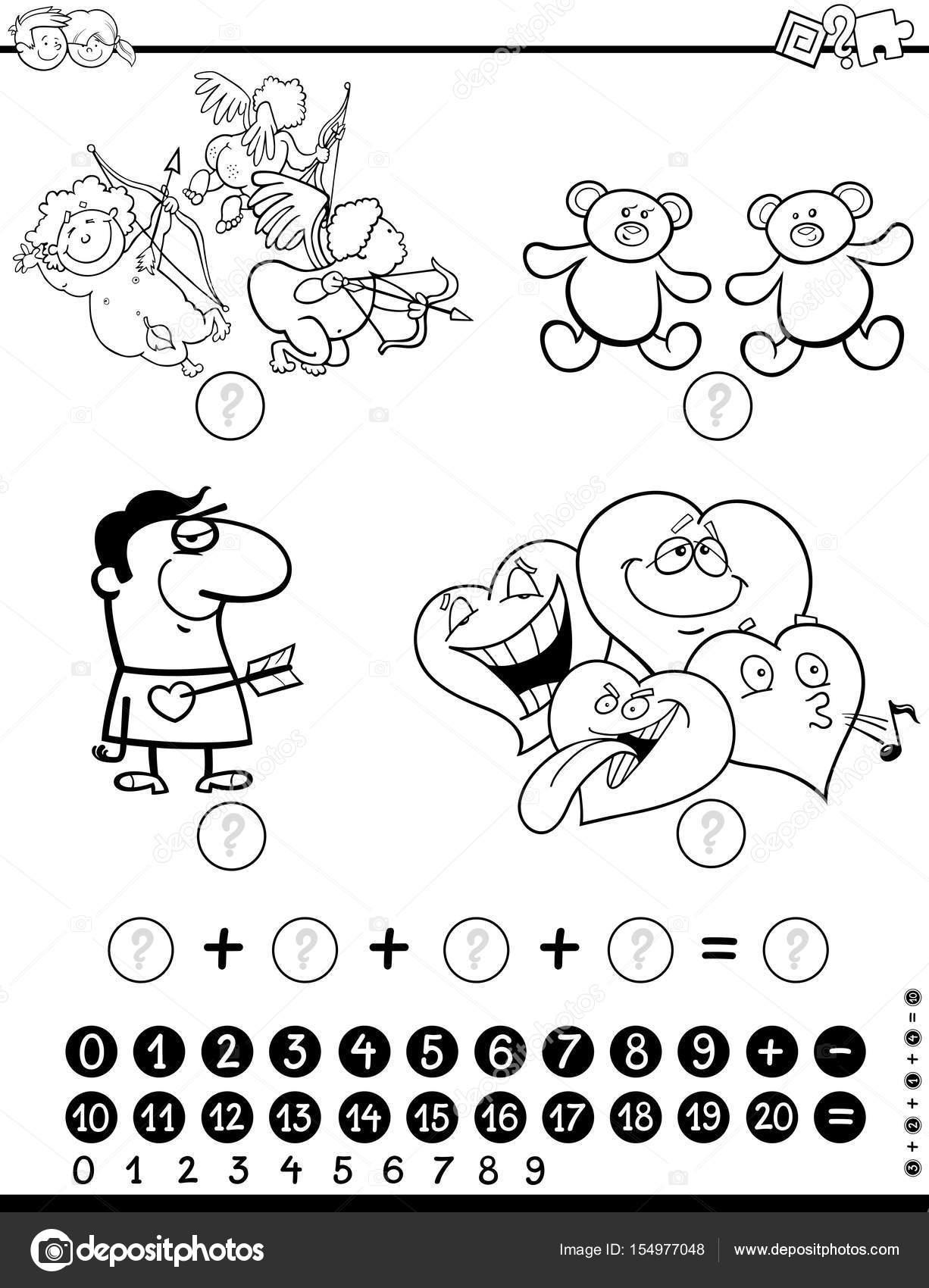Página para colorear de actividad matemática — Archivo Imágenes ...
